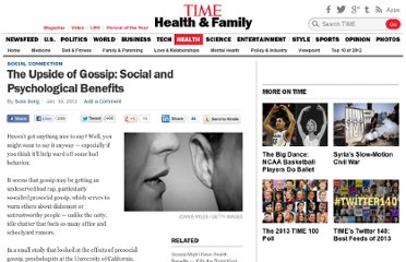 http://healthland.time.com/2012/01/19/the-upside-of-gossip-social-and-psychological-benefits/