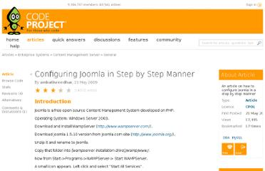 http://www.codeproject.com/Articles/36633/Configuring-Joomla-in-Step-by-Step-Manner