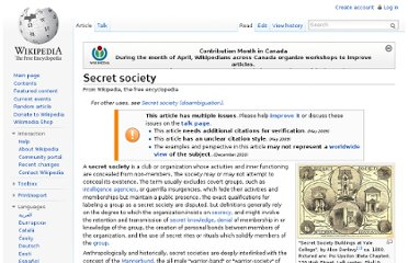 http://en.wikipedia.org/wiki/Secret_society