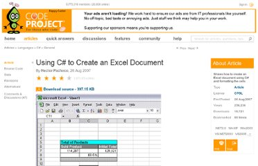 http://www.codeproject.com/Articles/20228/Using-C-to-Create-an-Excel-Document