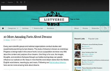http://listverse.com/2009/10/11/10-more-amazing-facts-about-dreams/