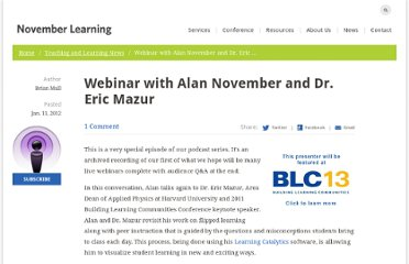 http://novemberlearning.com/webinar-with-alan-november-and-dr-eric-mazur/