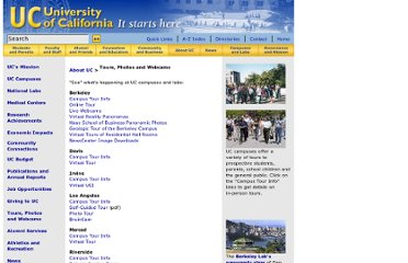 http://www.universityofcalifornia.edu/aboutuc/tours.html
