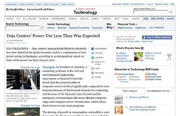 http://www.nytimes.com/2011/08/01/technology/data-centers-using-less-power-than-forecast-report-says.html?_r=1