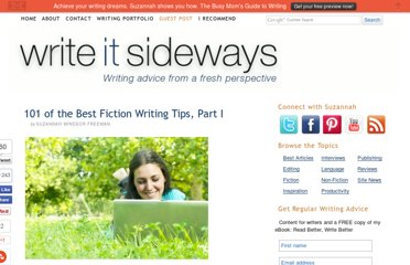 http://writeitsideways.com/101-of-the-best-fiction-writing-tips-part-i/