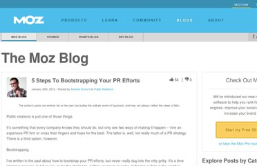http://www.seomoz.org/blog/5-steps-to-bootstrapping-your-pr-efforts