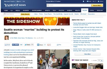 http://news.yahoo.com/blogs/sideshow/seattle-woman-marries-building-protest-demolition-224250710.html