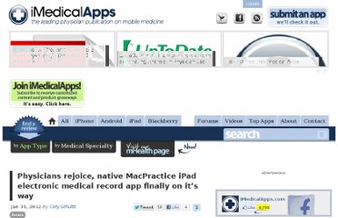 http://www.imedicalapps.com/2012/01/physicians-macpractice-ipad-electronic-medical-record-app/