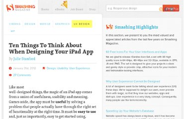 http://uxdesign.smashingmagazine.com/2012/01/31/ten-things-think-about-designing-ipad-app/