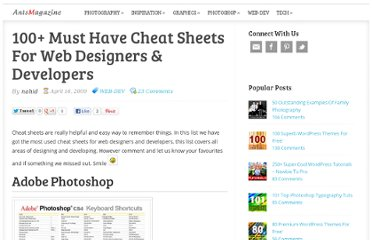 http://www.antsmagazine.com/web-development/100-useful-cheat-sheets-for-web-designers-developers/