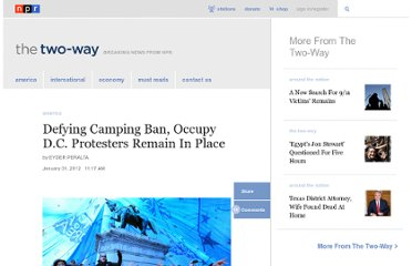 http://www.npr.org/blogs/thetwo-way/2012/01/31/146139246/defying-camping-ban-occupy-d-c-protesters-remain-in-place