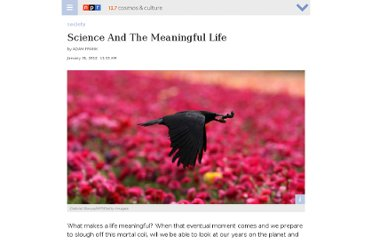 http://www.npr.org/blogs/13.7/2012/01/30/146108888/science-and-the-meaningful-life