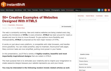 http://www.instantshift.com/2012/01/31/50-creative-examples-of-websites-designed-with-html5/