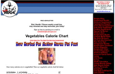 http://www.trulyhuge.com/vegetable-calories.html