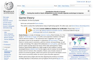 http://en.wikipedia.org/wiki/Game_theory#Description_and_modeling