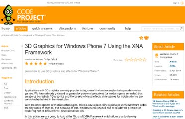 http://www.codeproject.com/Articles/176162/3D-Graphics-for-Windows-Phone-7-Using-the-XNA-Fram
