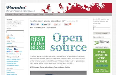 http://blog.ponoko.com/2012/01/30/top-ten-open-source-projects-of-2011/