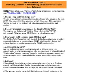 http://www.shakethatbrain.com/stb-ethics.What%20Should%20I%20do.TIP%20SHEET%20VERSION.html