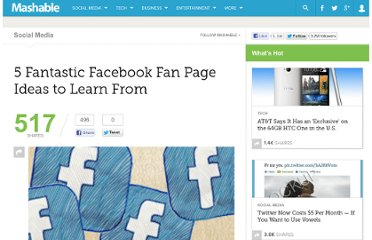 http://mashable.com/2010/02/25/facebook-fan-page-ideas/