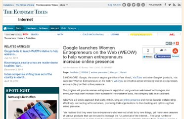 http://economictimes.indiatimes.com/tech/internet/google-launches-women-entrepreneurs-on-the-web-weow-to-help-woman-entrepreneurs-increase-online-presence/articleshow/11713967.cms