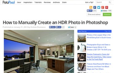 http://www.petapixel.com/2012/01/31/how-to-manually-create-an-hdr-photo-in-photoshop/