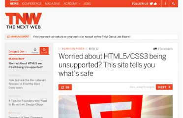 http://thenextweb.com/dd/2012/02/01/worried-about-html5css3-being-unsupported-this-site-tells-you-whats-safe/