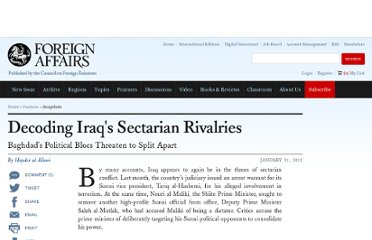 http://www.foreignaffairs.com/articles/137064/hayder-al-khoei/decoding-iraqs-sectarian-rivalries?cid=soc-facebook-in-articles-decoding-iraqs-sectarian-rivalries-020112