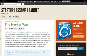http://www.startuplessonslearned.com/2012/02/hacker-way.html