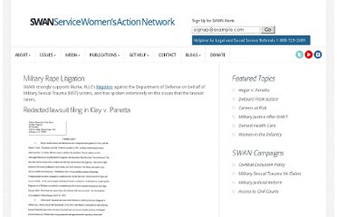 http://servicewomen.org/our-work/litigation/military-rape-litigation/