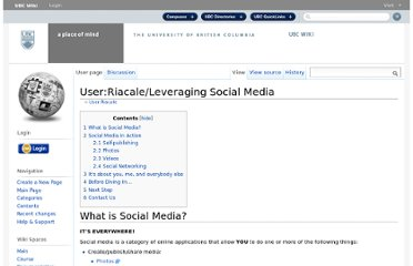 http://wiki.ubc.ca/User:Riacale/Leveraging_Social_Media