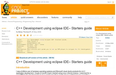 http://www.codeproject.com/Articles/14222/C-Development-using-eclipse-IDE-Starters-guide