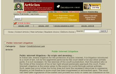 http://www.legalserviceindia.com/article/l273-Public-Interest-Litigation.html