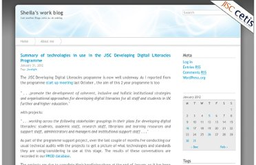 http://blogs.cetis.ac.uk/sheilamacneill/2012/01/31/summary-of-technologies-in-use-in-the-jisc-developing-digital-literacies-programme/