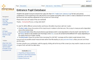 http://wiki.panotools.org/Entrance_Pupil_Database