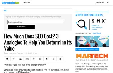http://searchengineland.com/how-much-does-seo-cost-3-analogies-to-help-you-determine-its-value-108870