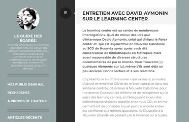 http://www.guidedesegares.info/2012/02/02/entretien-avec-david-aymonin-sur-le-learning-center/