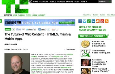http://techcrunch.com/2010/02/05/the-future-of-web-content-html5-flash-mobile-apps/