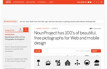http://thenextweb.com/dd/2012/02/02/nounproject-has-100s-of-beautiful-free-pictographs-for-web-and-mobile-design/