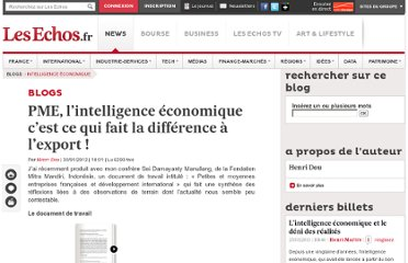 http://blogs.lesechos.fr/intelligence-economique/pme-l-intelligence-economique-c-est-ce-qui-fait-la-difference-a-l-export-a8879.html