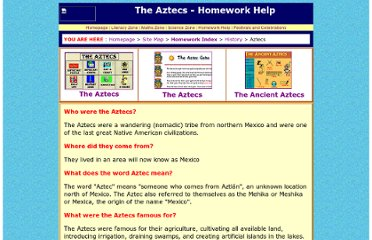 http://www.woodlands-junior.kent.sch.uk/Homework/aztecs.html