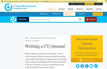 http://oxforddictionaries.com/words/writing-a-cv-resume