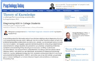 http://www.psychologytoday.com/blog/theory-knowledge/201202/diagnosing-add-in-college-students