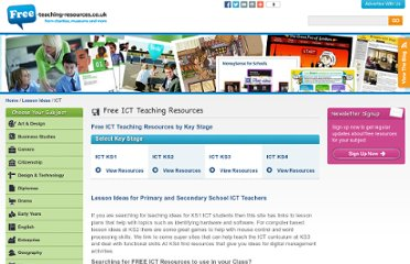 http://www.free-teaching-resources.co.uk/lesson-ideas/ict/index.html
