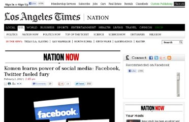http://latimesblogs.latimes.com/nationnow/2012/02/facebook-twitter-fueled-fury-against-in-susan-g-komen-for-the-cure-.html