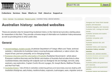 http://www.nla.gov.au/australiana/australian-history-selected-websites