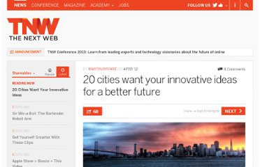 http://thenextweb.com/shareables/2012/02/04/20-cities-want-your-innovative-ideas-for-a-better-future/