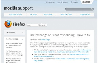 http://support.mozilla.org/en-US/kb/Firefox-hangs