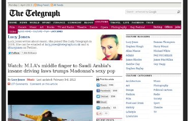 http://blogs.telegraph.co.uk/culture/lucyjones/100060274/watch-m-i-as-middle-finger-to-saudi-arabias-insane-driving-laws-trumps-madonnas-sexy-pop/