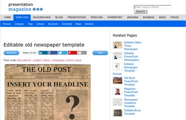 http://www.presentationmagazine.com/editable-old-newspaper-template-4520.htm