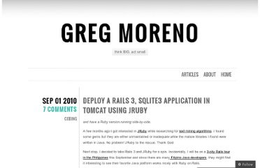 http://gregmoreno.wordpress.com/2010/09/01/deploy-a-rails-3-sqlite3-application-in-tomcat-using-jruby/